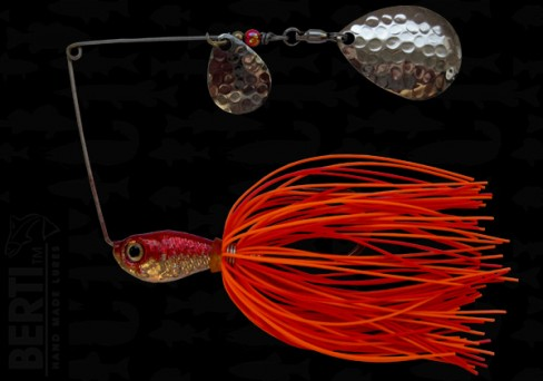 Bertilure Spinnerbait Colorado Nr.2 Colorado Deep Cup 14g Skirt Siliconic Orange - Rosu