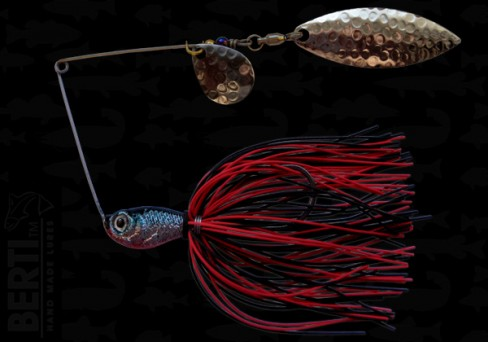 Bertilure Spinnerbait Colorado Nr.2 Salcie Nr.2 14g Skirt Siliconic Rosu - Negru