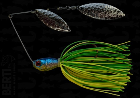 Bertilure Spinnerbait Salcie Nr.2 Salcie Nr.3 14g Skirt Siliconic Lime - Chartreuse