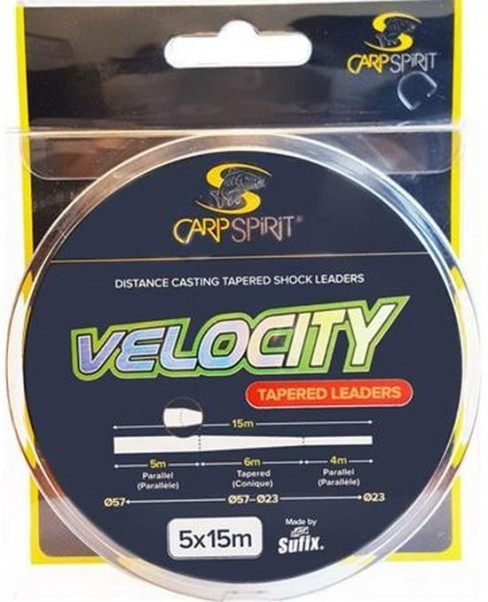 Fir Inaintas Conic Carp Spirit Velocity Tapered Leaders, Clear, 0.23mm-0.57mm, 5x15m/rola
