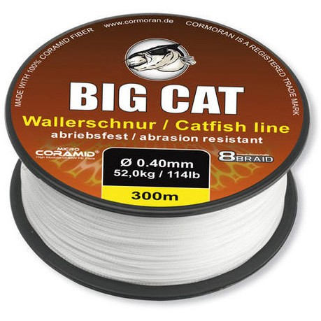 Fir Textil Cormoran Big Cat 8x Braid, White, Ø=0.50mm, 300m