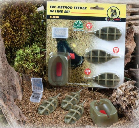 Momitor Extra Carp Method Feeder In Line Set 3+1 (20,30,40g) + Matrita