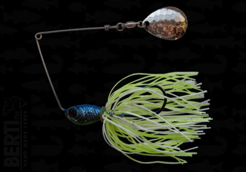 Bertilure Spinnerbait Colorado Deep Cup 11gr Skirt Siliconic White Chartreuse Glitter