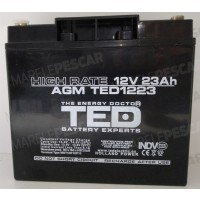 Acumulator Etans TED AGM VRLA 12V-23Ah High Rate, 18.1x7.7x16.7cm