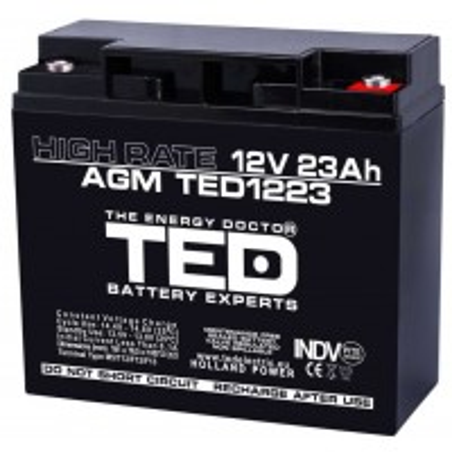 Acumulator Etans TED AGM VRLA 12V 23Ah High Rate, 18.1x7.65x16.75cm