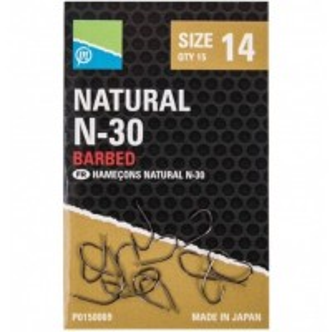 Carlige cu Micro Barbeta Preston Natural N-30, 15buc/plic