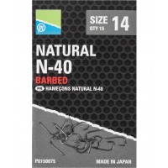 Carlige cu Micro Barbeta Preston Natural N-40, 15buc/plic
