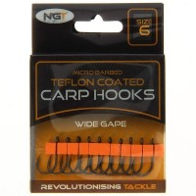 Carlige Teflonate NGT Wide Gape Carp Hooks, 10bucplic