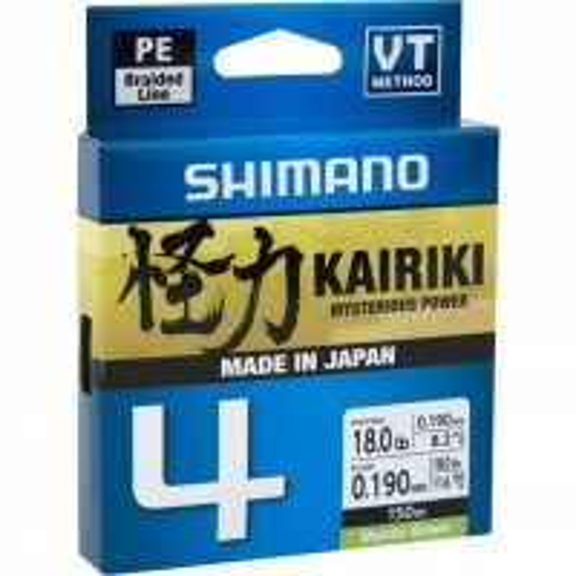 Fir Textil Shimano Kairiki 4 Braided Line, Mantis Green, 150m