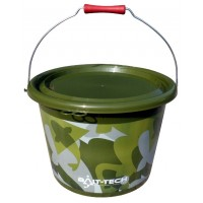 Galeata Bait-Tech Groundbait Bucket & Lid Green Camo 18l