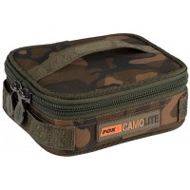 Geanta pentru Plumbi/Accesorii Fox Rigid Lead & Bits Bag Compact Camolite + Insertie Rigida, 18.5x14.5x7cm