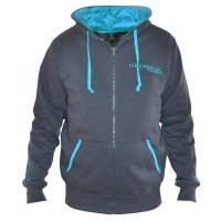 Hanorac Drennan Full Zipped Hoodie, Grey/Aqua