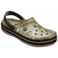 Papuci Crocs Crocband Graphic Clog Dark Camo Green
