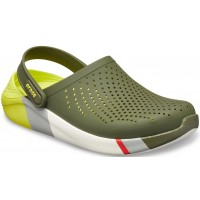 Papuci Crocs LiteRide Clog Colorblock, Army Green/White