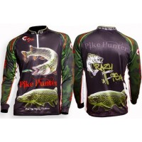 Bluza pentru Copii Crazy Fish Sleeve Fishing Shirt Pike Hunter Black