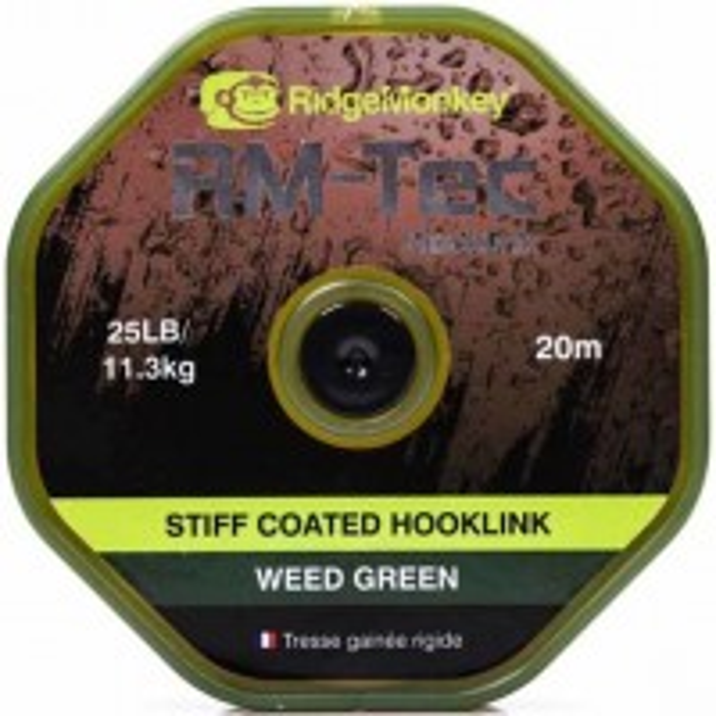 Fir Textil RidgeMonkey RM-Tec Stiff Coated Hooklink, Weed Green, 20m