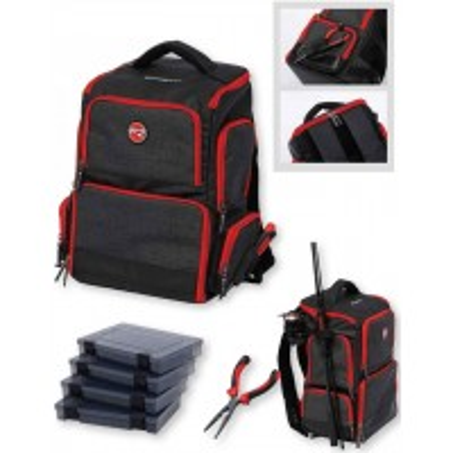 Rucsac DAM Effzett Pro-Tact Back Pack + 4 Cutii, 39x25x46cm