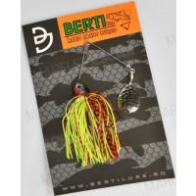 Spinnerbait cu Skirt Berti Colorado, Rosu/Chartreuse, 11g