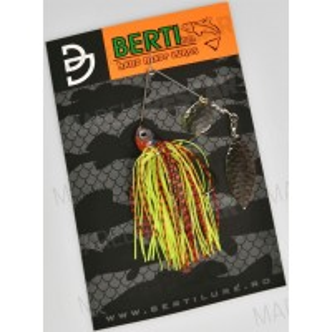 Spinnerbait cu Skirt Berti Colorado Salcie, Rosu/Chartreuse, 11g