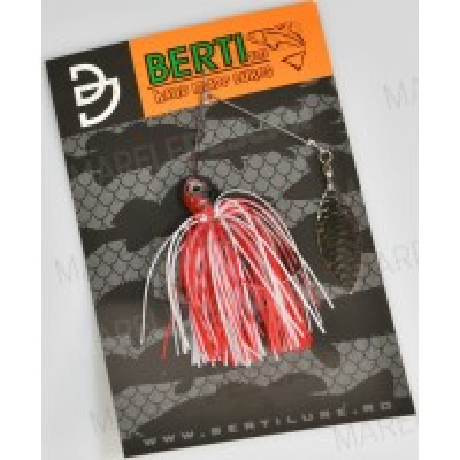 Spinnerbait cu Skirt Berti Salcie, Alb/Rosu, 11g